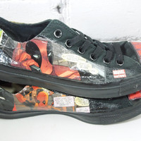 Women's Deadpool Comic Book Sneakers. For Her. Wade Wilson. Your Friendly Neighborhood Merc with a Mouth. For Nerdy Cool Girls.
