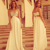 Strappy White Prom Maxi Dress