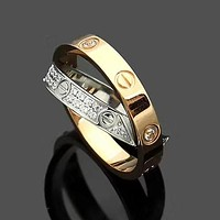 Cartier Fashion New Diamond Cross Personality Ring Accessories