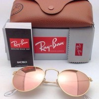 New Ray-Ban Sunglasses ROUND METAL RB 3447 112/Z2 Gold Frame w/ Pink Mirror Lens