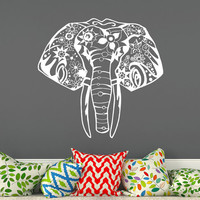 Elephant Decals Vinyl Wall Decals Bedroom Indian Sticker Bohemian Bedding Boho Decor for Home T30