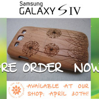 Samsung Galaxy S4 case - wooden cases walnut / cherry or bamboo wood-  Dandelion - PREORDER NOW -