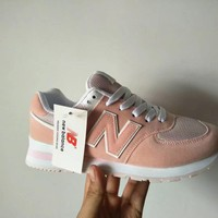 """New Balance 574"" Women Sport Casual N Words Sneakers Running Shoes"