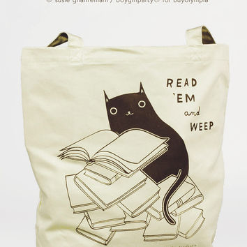 Read 'Em and Weep - Black Cat Book Tote