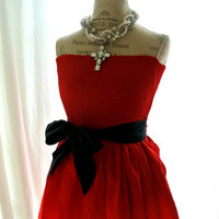 Red party sundress, gypsy cowgirl glam, country, cottage, womens clothing, upcycled clothing