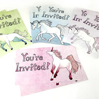Watercolor Unicorn Invitation Cards, You're Invited Postcards, Birthday Party Invitation Cards, Watercolor Unicorn Themed Party Invitations