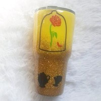 Beauty And The Beast Glitter Stainless Steel Tumbler