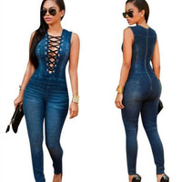 WOMEN'S DEEP V-NECK DENIM JUMPSUIT JEANS PANTS 161006