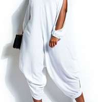 Plus Size White  V-Neck Long Sleeve Cut-out Jumpsuit