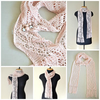 pink lace scarf, pink knit scarf, summer wrap,scarf brooch pin,long summer scarf,lightweight scarf,cotton scarf,unique scarf,wedding scarf