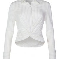 Stripe Twist Front Knot Button Down Blouse (CLEARANCE)