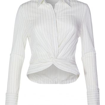 Casual Lightweight Stripe Twist Front Knot Button Down Blouse Shirt Top (CLEARANCE)