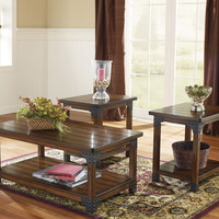 Murphy Wood & Metal Coffee Table Set by Ashley Furniture
