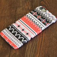 Tribal Red and White Aztec Pattern iPhone 6 Plus 6 5S 5C 5 4 Protective Case #755