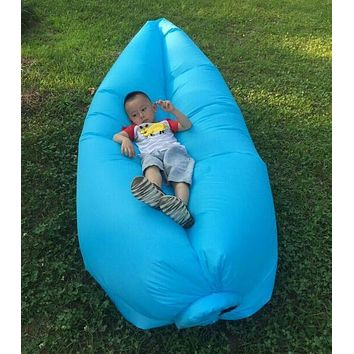 blue air bag, outdoor air instantly inflated bean bag chair