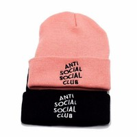 Autumn Winter Unisex Anti Social Social Cub Knit Beanies Hat F