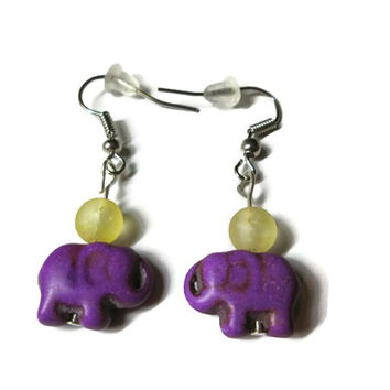 Purple Elephant Earrings, Howlite Magnesite and Yellow Crackle Quartz Beads, Nickel Free French Ear Wires