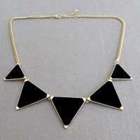 Gold Black Triangle Chain Necklace Jewelry For Women Love Cute
