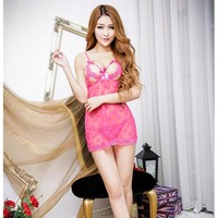 On Sale Hot Deal Cute Ladies Sexy Heart Transparent Lace Spaghetti Strap Exotic Lingerie [6595578051]
