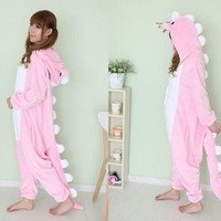 Hot unisex Adult Onesuit Kigurumi Pajamas Costume Dress Sleepwear Pink dinosaur