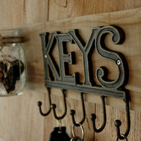 Key Rack  with 5 hooks and 1 mason jar kitchen decor