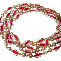 "Red Glass Pearl Flapper Beads Candy Stripes Long Beads 56"" Vintage Victorian 1900s"