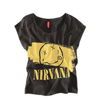 Black Women's Letter Nirvana Smiley Face Print T-shirt Top TEE = 1956869956