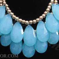 Blue Necklace Two Layer Teardrop Necklace Statement Necklace Bib Necklace