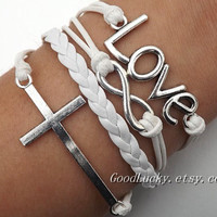 Unisex  simple fashion silver 8 Infinite wish, Cross and love pendant leather braided bracelet--white wax rope and PU braided bracelet