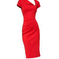 Asymmetric Neckline Ruched Bodycon Midi Dress