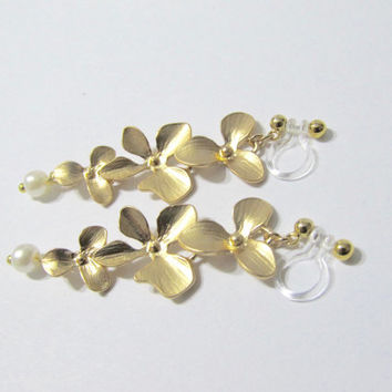 Matte Gold Plate Orchid Flower clip on earrings, D3G, Long Drop Dangle Earrings, Non Pierced Earring, Bridal Clip, Wedding clip on earrings