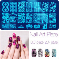 20 Patterns Stainless Steel Nail Art Stamping Plates Nail Seal Manicure Polaco Printer Tool Templates Nail Stamp Stencils 2017