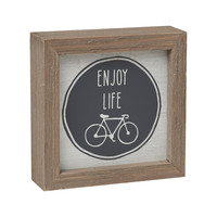 Enjoy Life with Bicycle - Framed Box Sign 5-in