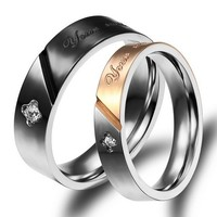 Customized Titanium Wedding Bands Set for 2
