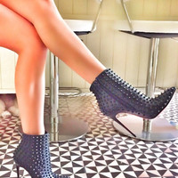 Bonita Black Spikes Leather Boots