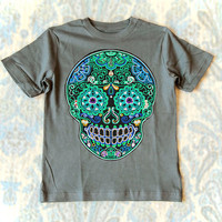 Trendy Boys Clothes Size 4 5 6 7 Neon Sign Tattoo Sugar Skull Day of the Dead Tshirt for Kids. Gray Blue Halloween tee shirt 4T short sleeve