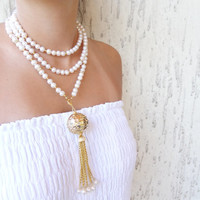 Wedding Pearl Necklace, Wedding Jewelry Pearl Necklace with Gold Plated, Bridal Necklace