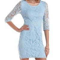 Periwinkle Three-Quarter Sleeve Lace Bodycon Dress by Charlotte Russe