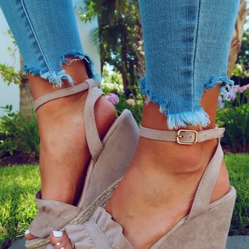 Meet Me Here Wedges: Taupe