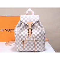 Louis Vuitton LV Hot Selling Fashion Coloured Lady's Backpack White lattice