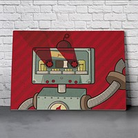 Canvas Wall Art Print - Cassette Robot by Andrea Dona