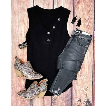 Button Up Ribbed Tank - Black