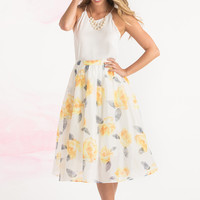 Kayla Yellow Floral Midi Skirt