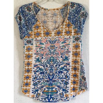 Lucky Brand Placed Geo Print Tee Floral Yellow Blue Pink Star T-Shirt Top Boho S