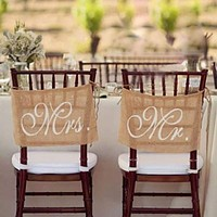 Burlap Rustic Wedding Chair Banners Signs Mr and Mrs Vintage Wedding Decoration