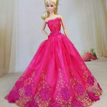 NK One Pcs 2016 Princess Wedding Dress Noble Party Gown For Barbie Doll Fashion Design Outfit Best Gift For Girl' Doll Mix Style