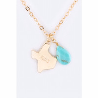 Texas Map with Turquoise Teardrop Necklace Gold