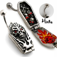 Skull Coffin Non Dangle Belly Button Ring Navel Body Jewelry Piercing