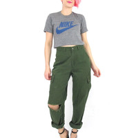 90s Army Green Pants Military Surplus Baggy High Waist Pants Distressed Carpenter Pants Ripped Shredded Loose Fit Hunter Green Pants (S)