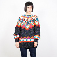 Vintage Chunky Knit Sweater Black Rainbow Jumper Pullover Southwestern Print Color Block Navajo Knit Native American Boho L XL Extra Large